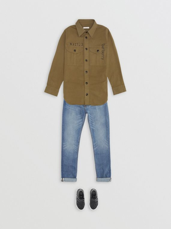 Stencil Print Cotton Wool Army Shirt in Olive