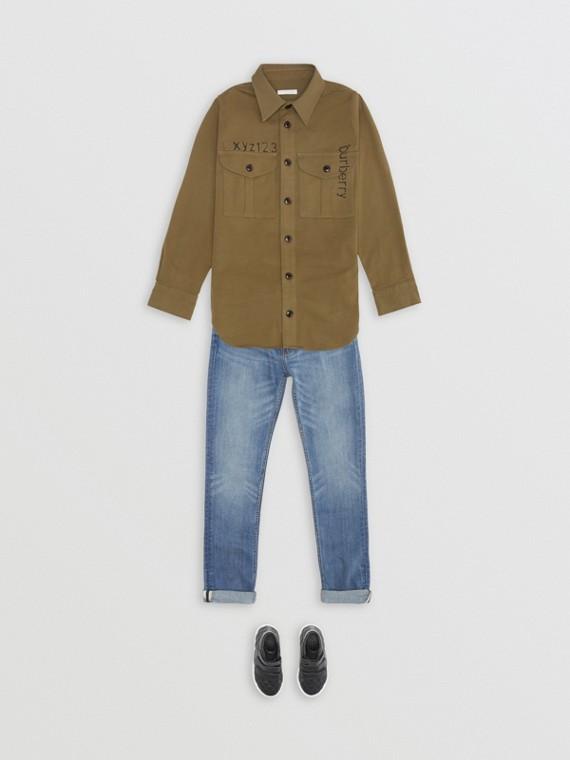 模板印花棉質羊毛軍裝襯衫 (橄欖色)