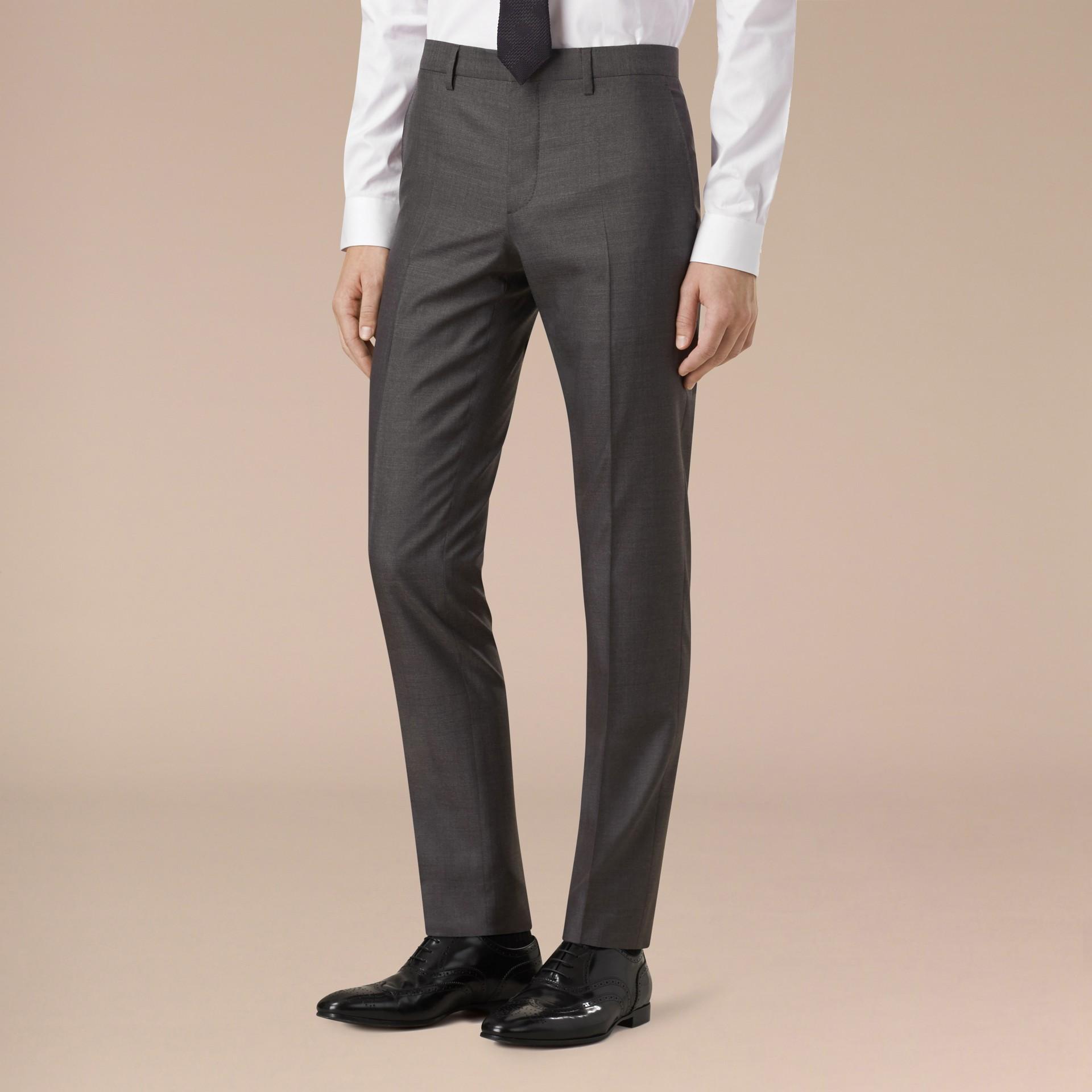 Темно-серый меланж Узкий костюм из шерсти и шелка - изображение 5