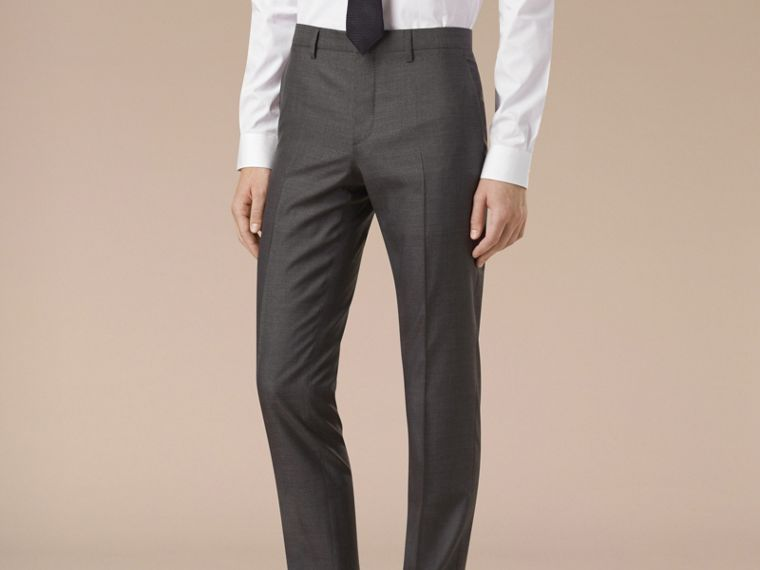 Dark grey melange Slim Fit Wool Silk Half-canvas Suit - cell image 4