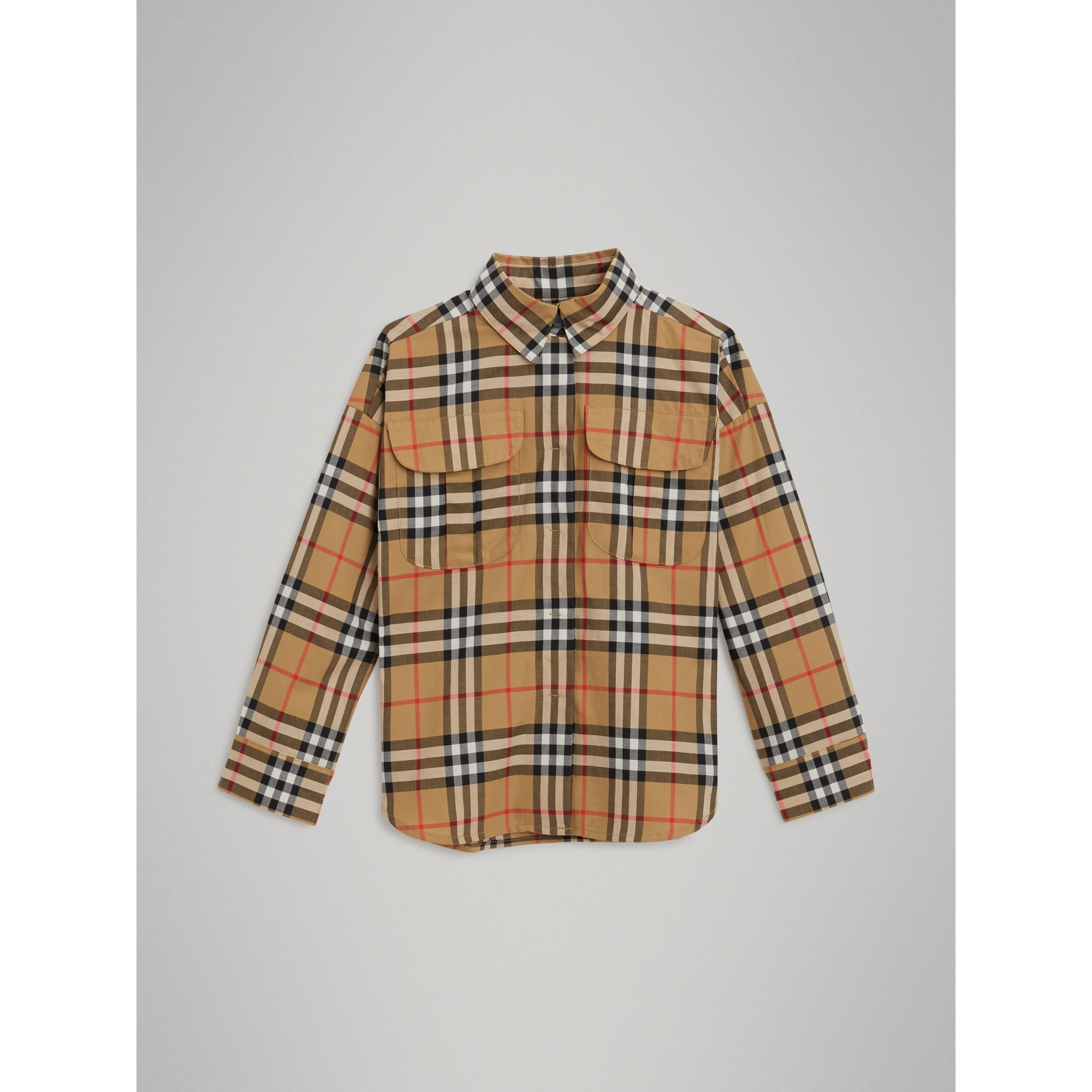 Vintage Check Cotton Shirt in Antique Yellow - Girl | Burberry - gallery image 0