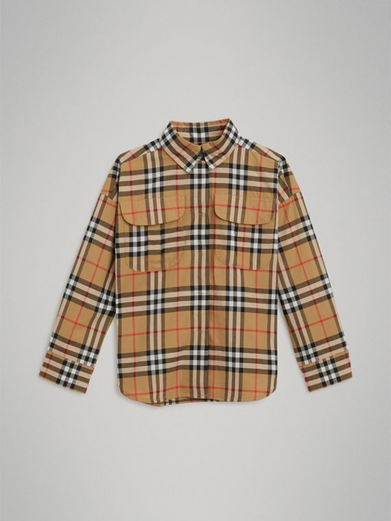 Vintage Check Cotton Shirt in Antique Yellow