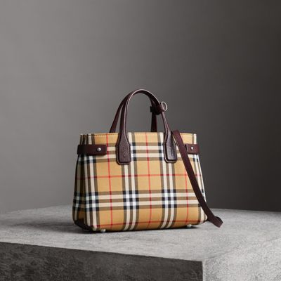 The Small Banner In Vintage Check And Leather in Yellow