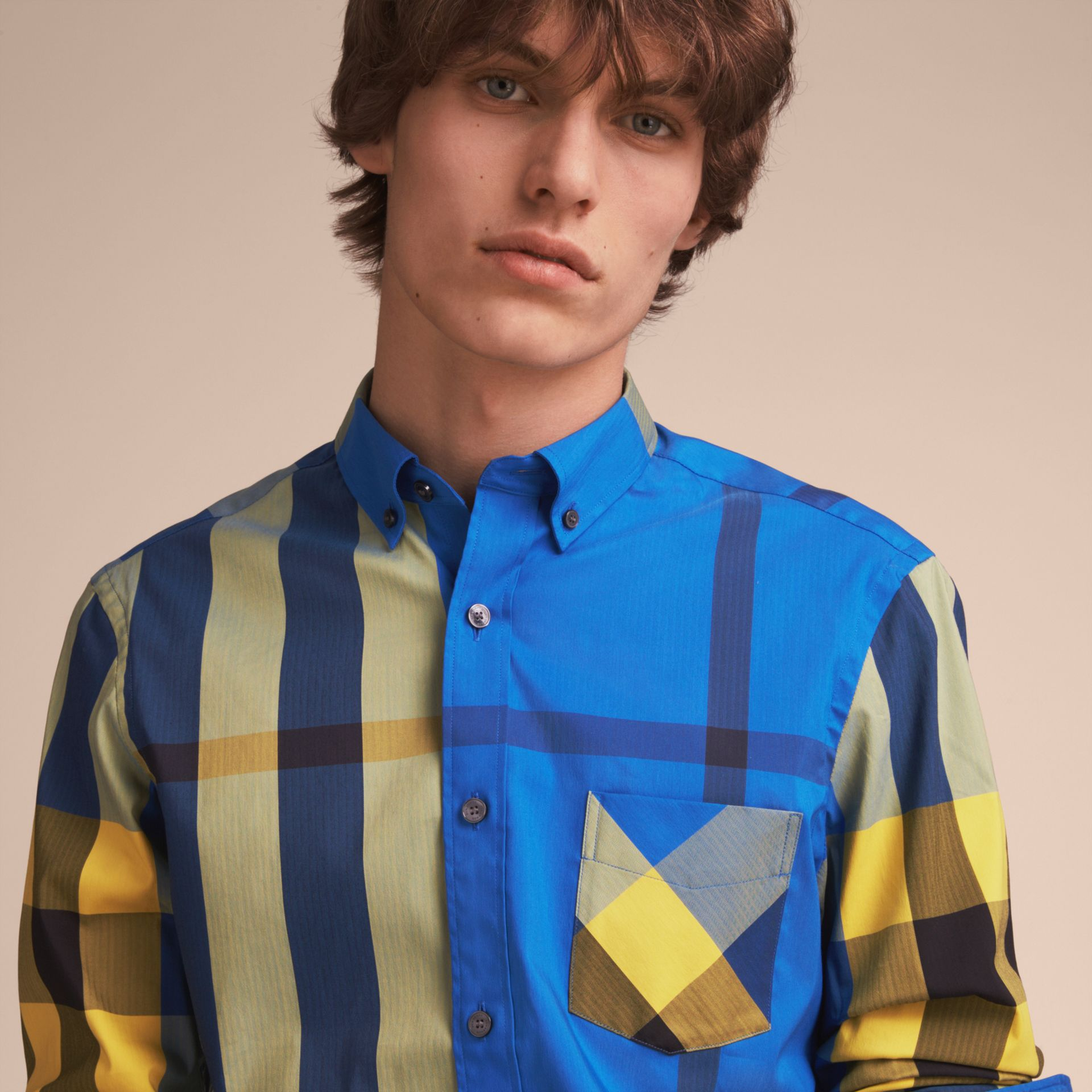 Button-down Collar Check Stretch Cotton Blend Shirt in Bright Canvas Blue - Men | Burberry - gallery image 5