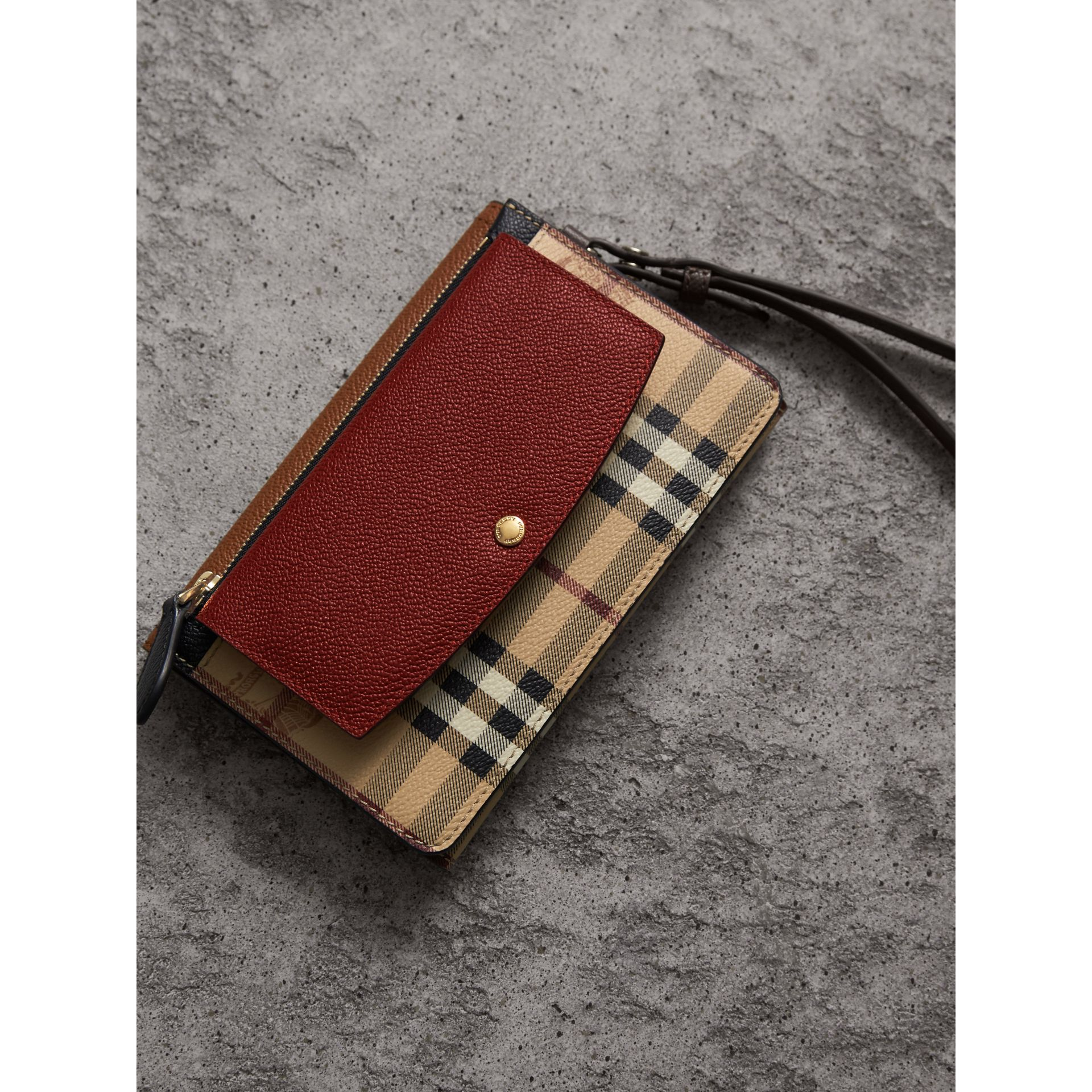Leather and Haymarket Check Wristlet Wallet in Bright Toffee/multicolour - Women | Burberry - gallery image 3