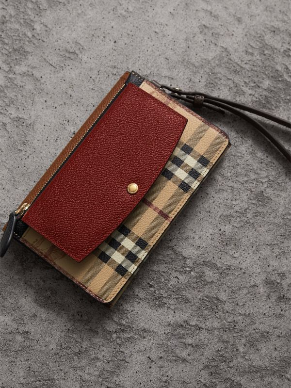 Leather and Haymarket Check Wristlet Wallet in Bright Toffee/multicolour - Women | Burberry - cell image 3