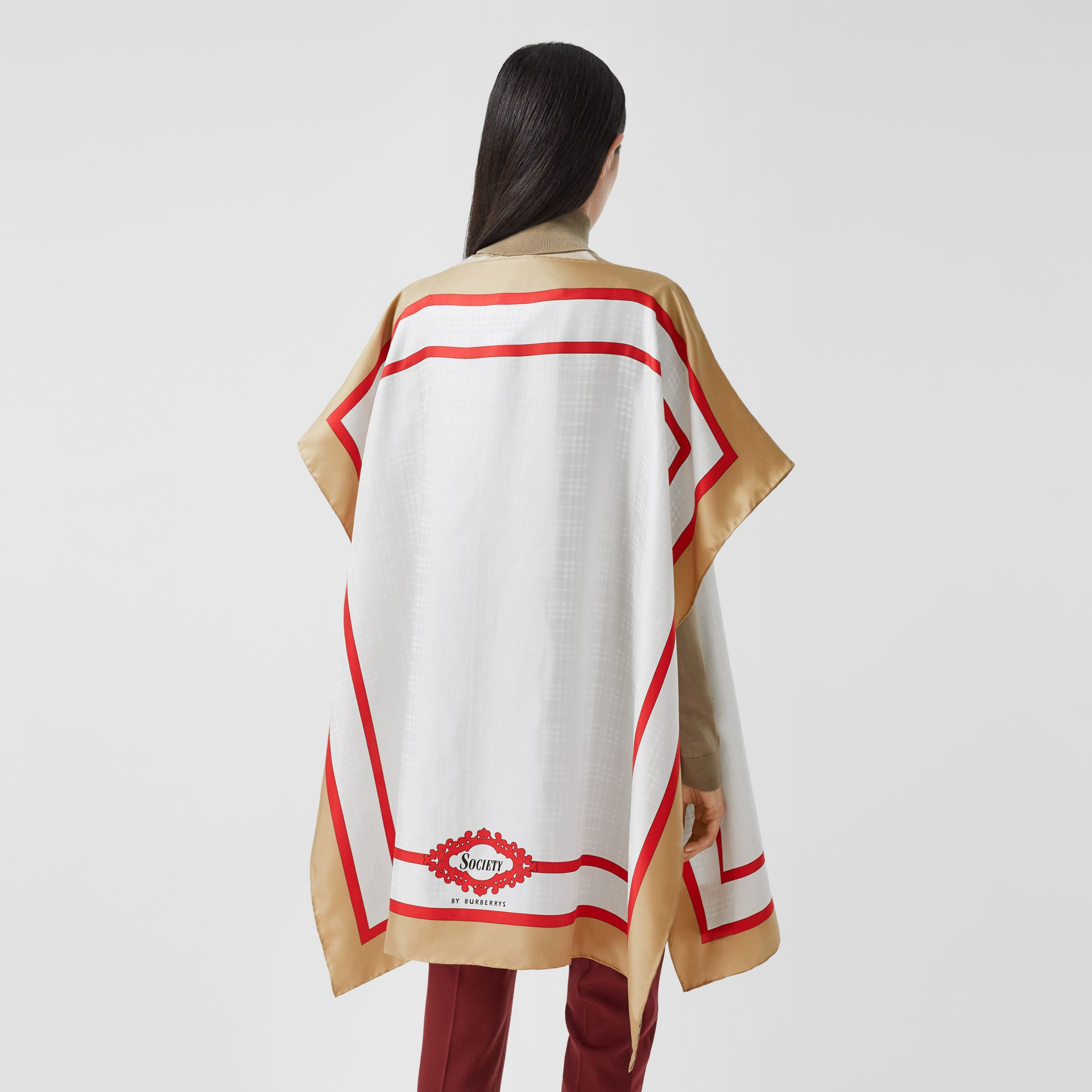 Archive Scarf Print Silk Twill Cape in Honey - Women | Burberry United Kingdom - gallery image 2