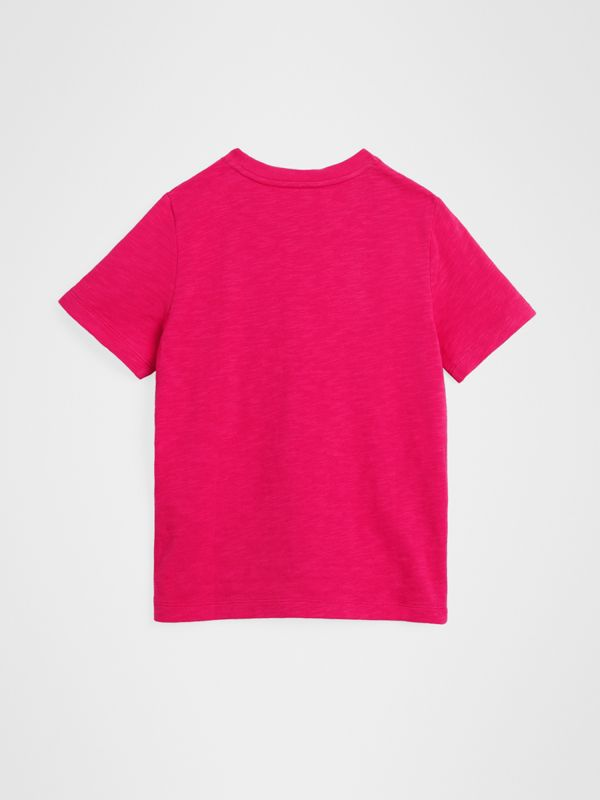 Logo Print Cotton T-shirt in Raspberry Pink | Burberry United Kingdom - cell image 2