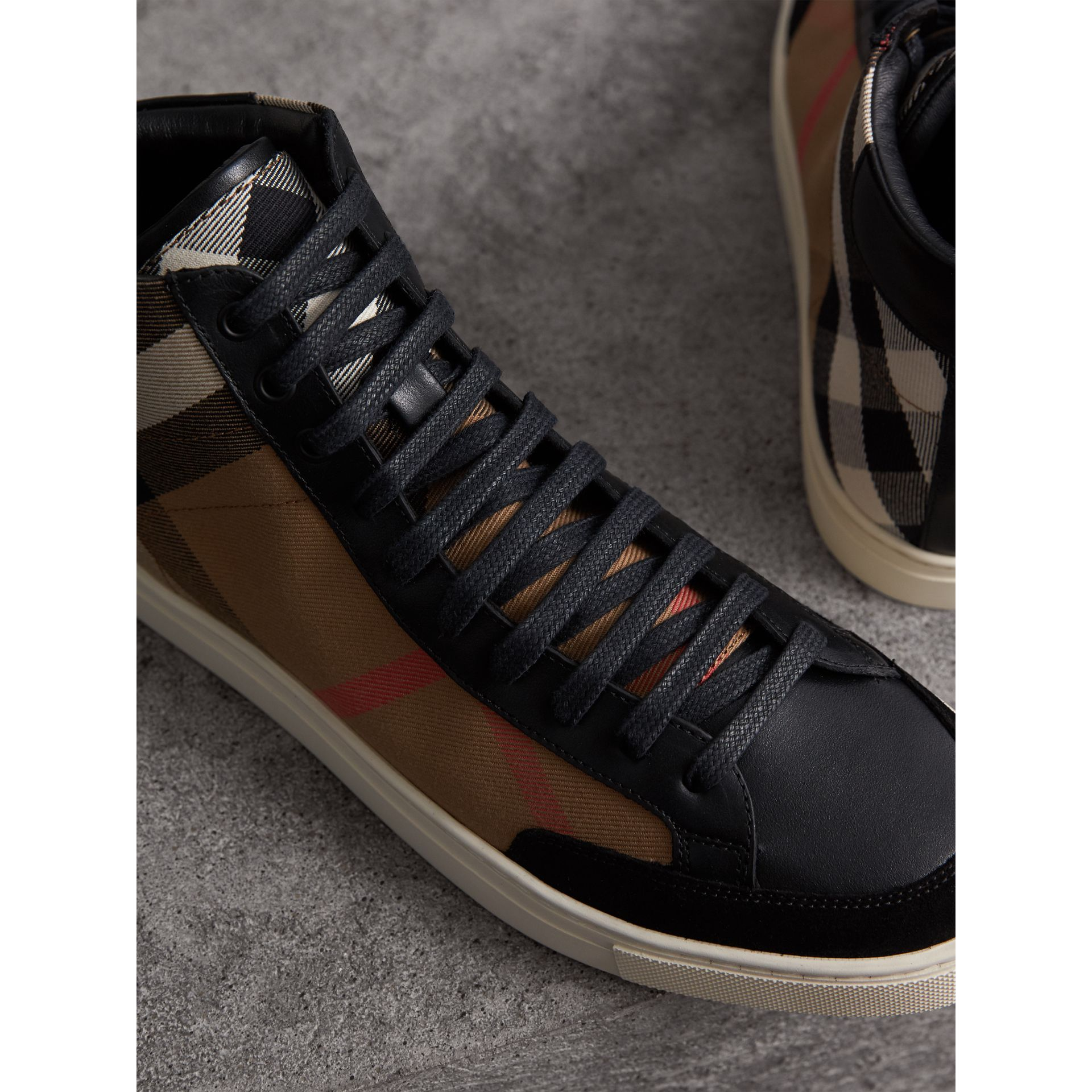 House Check Cotton and Leather High-top Trainers in Black - Men | Burberry - gallery image 2