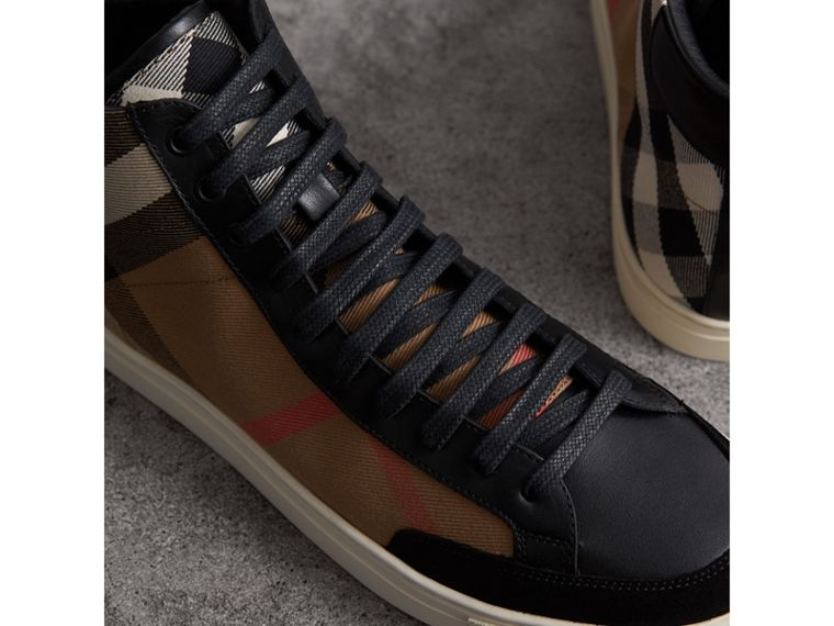 House Check Cotton and Leather High-top Trainers in Black - Men | Burberry - cell image 1