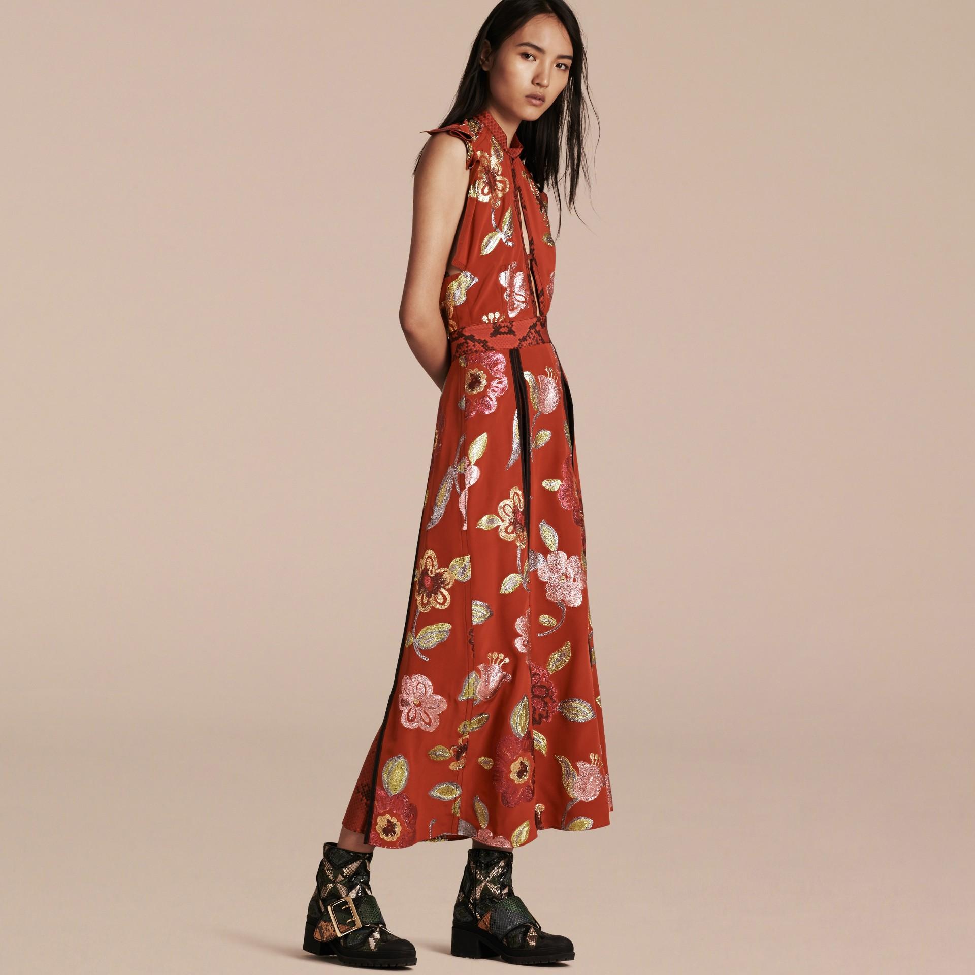 Burnt sienna Floral Fil Coupé Silk Dress - gallery image 1