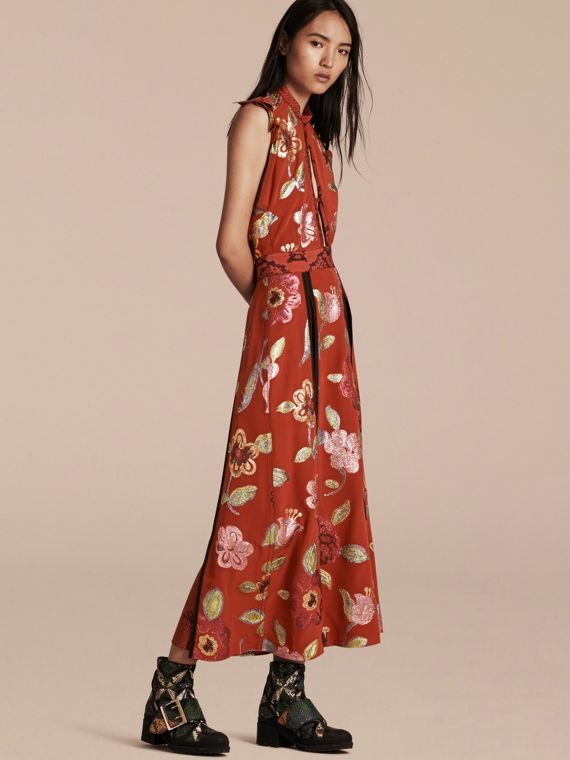 Floral Fil Coupé Silk Dress