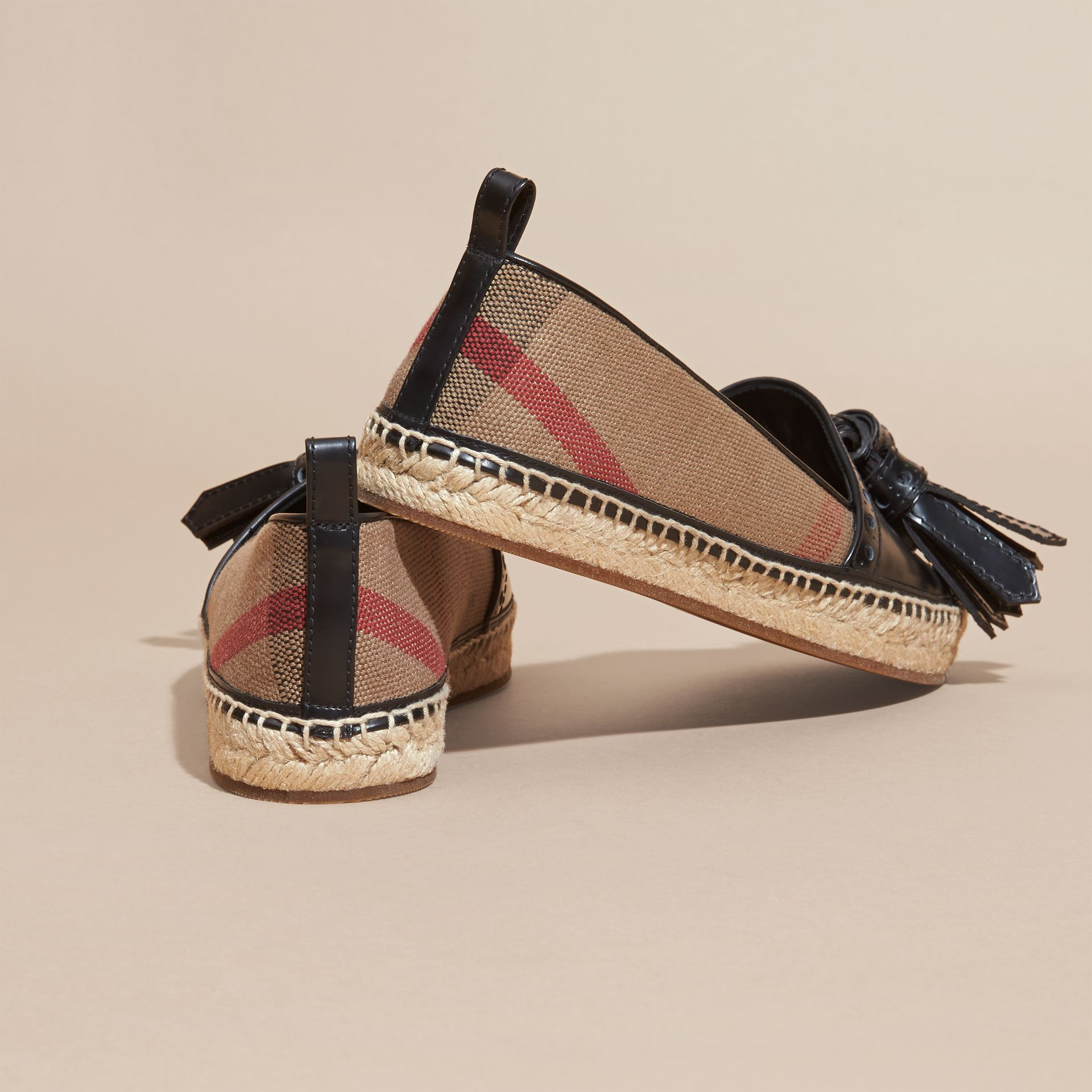 Black Tasselled Canvas Check and Leather Espadrilles - gallery image 4