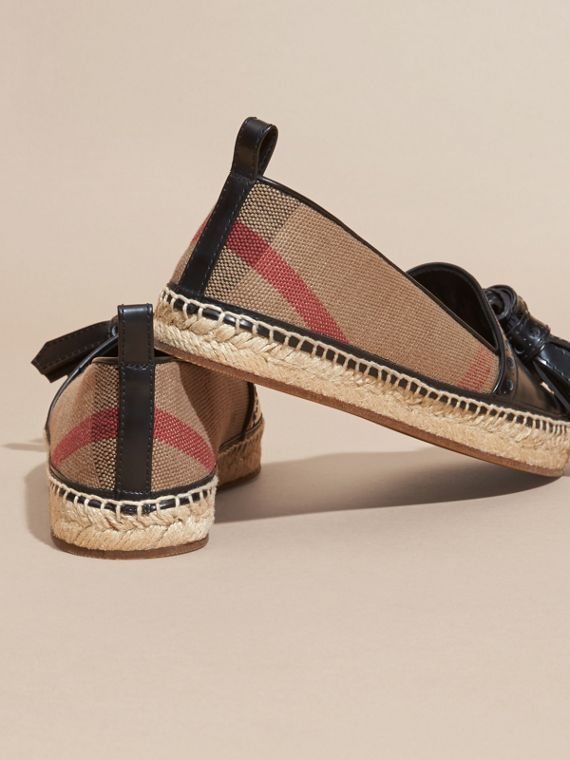 Nero Espadrillas in pelle con motivo Canvas check e nappe - cell image 3