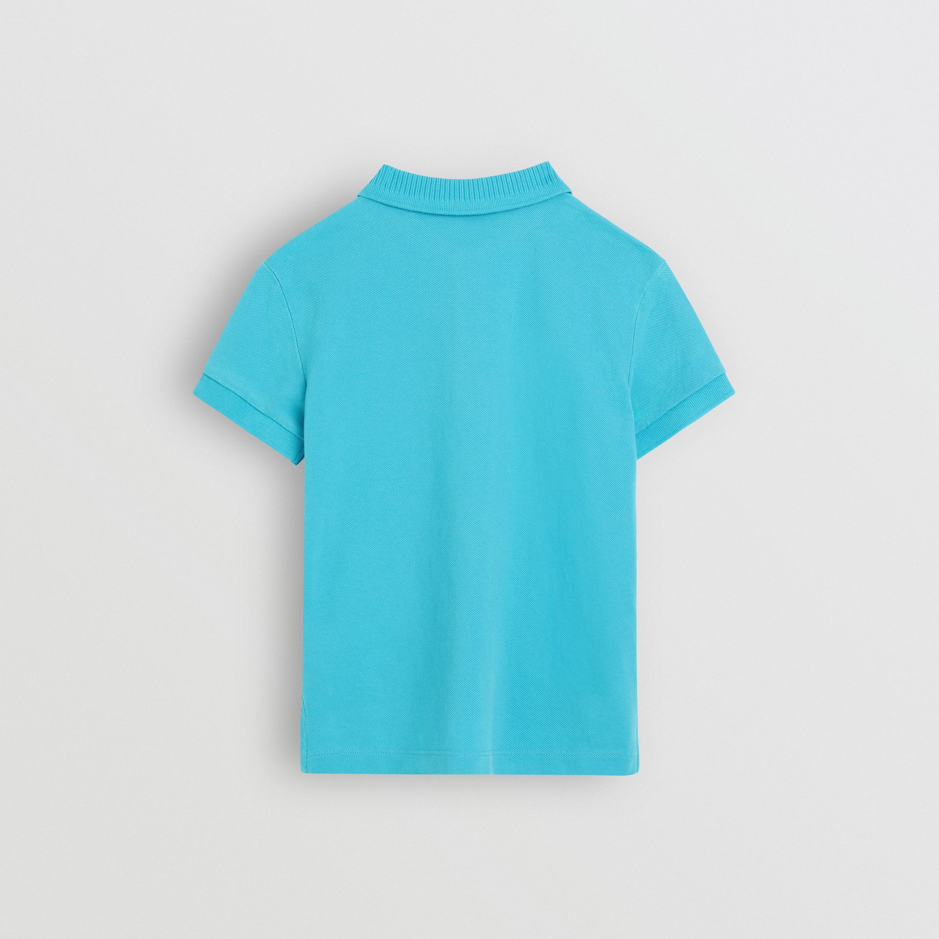 EKD Logo Cotton Piqué Polo Shirt in Bright Cyan Blue - Children | Burberry - gallery image 3