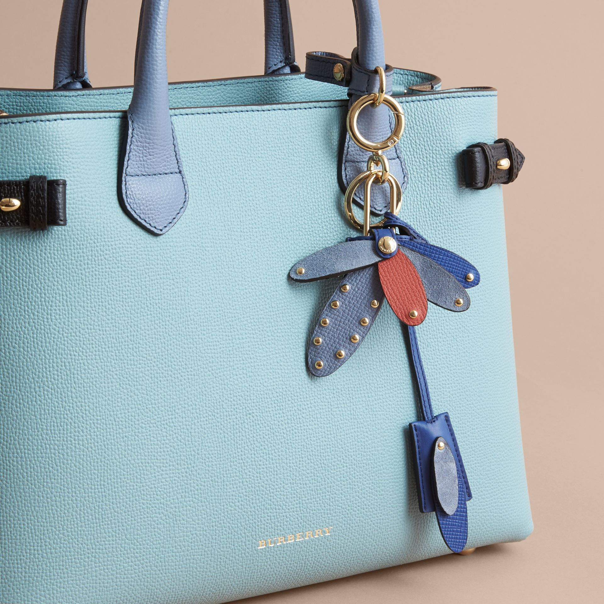 Beasts Leather Key Charm and Padlock in Hydrangea Blue - Women | Burberry - gallery image 3