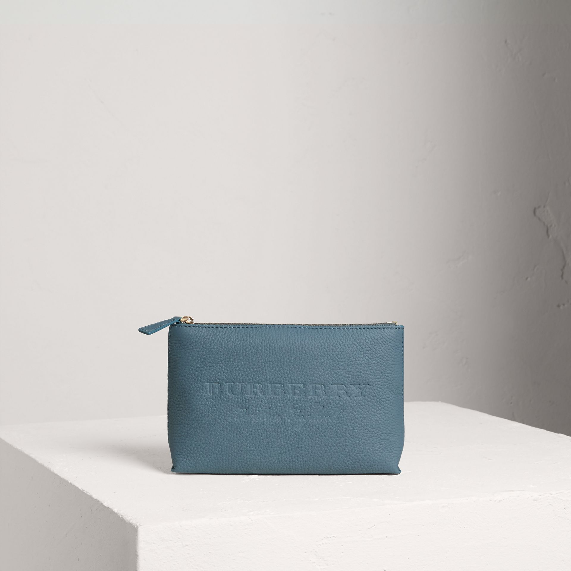 Medium Embossed Leather Zip Pouch in Dusty Teal Blue | Burberry - gallery image 0