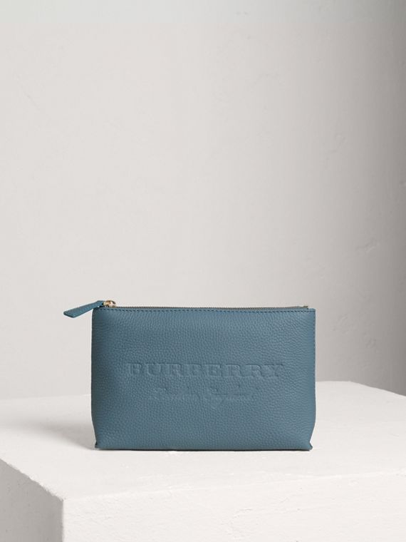 Medium Embossed Leather Zip Pouch in Dusty Teal Blue