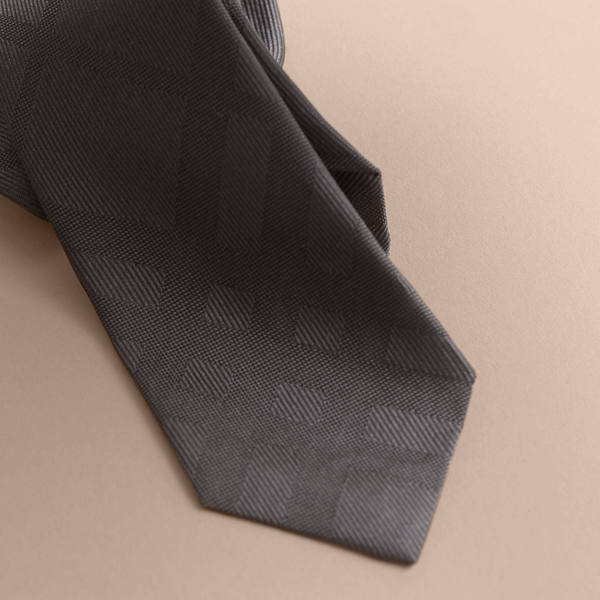 Slim Cut Check Silk Tie Charcoal - gallery image 2