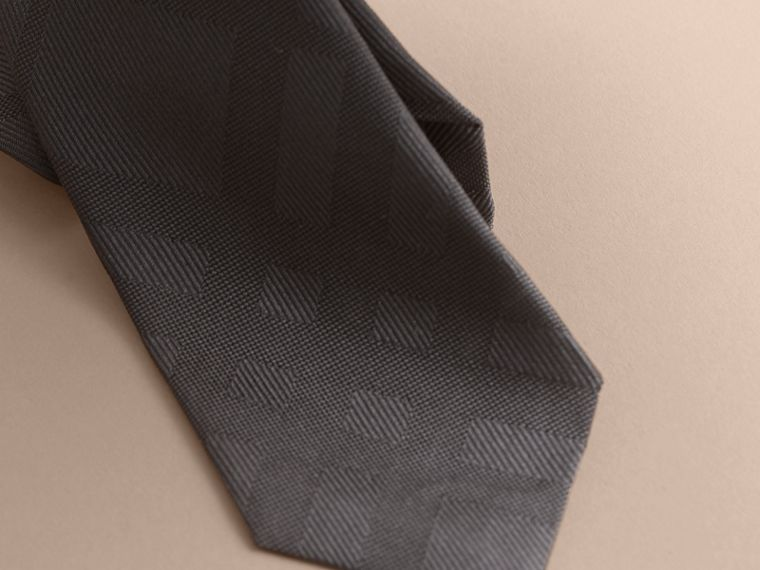 Slim Cut Check Silk Tie in Charcoal - cell image 1