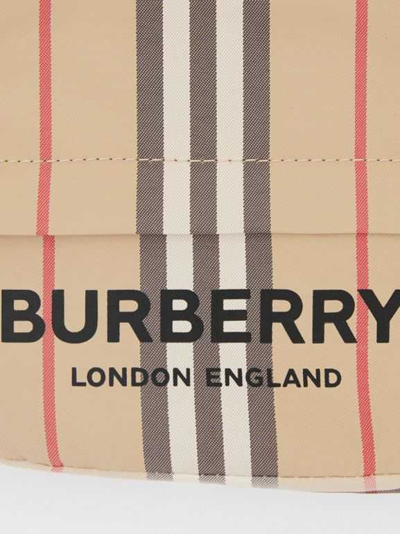 Logo Print Icon Stripe Nylon Drawcord Pouch in Archive Beige - Women | Burberry United Kingdom - cell image 1