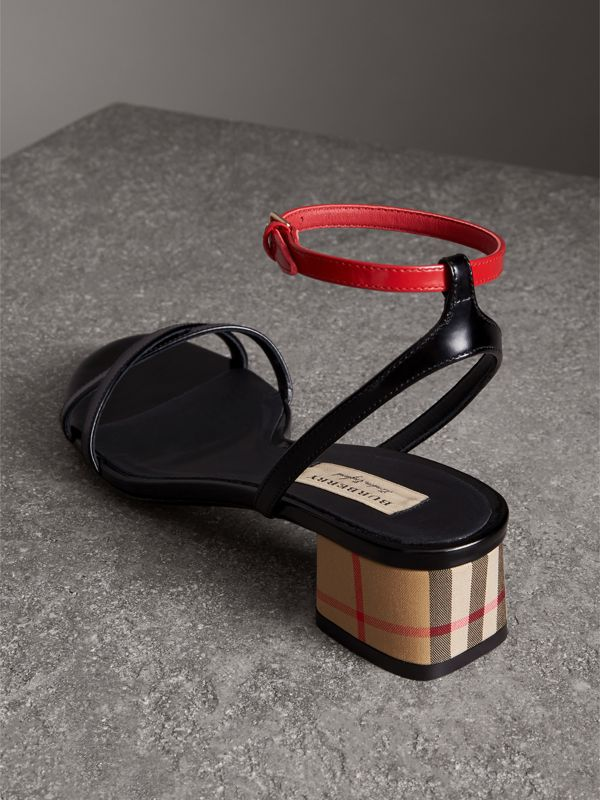 Tartan and Patent Leather Block-heel Sandals in Black - Women | Burberry - cell image 3