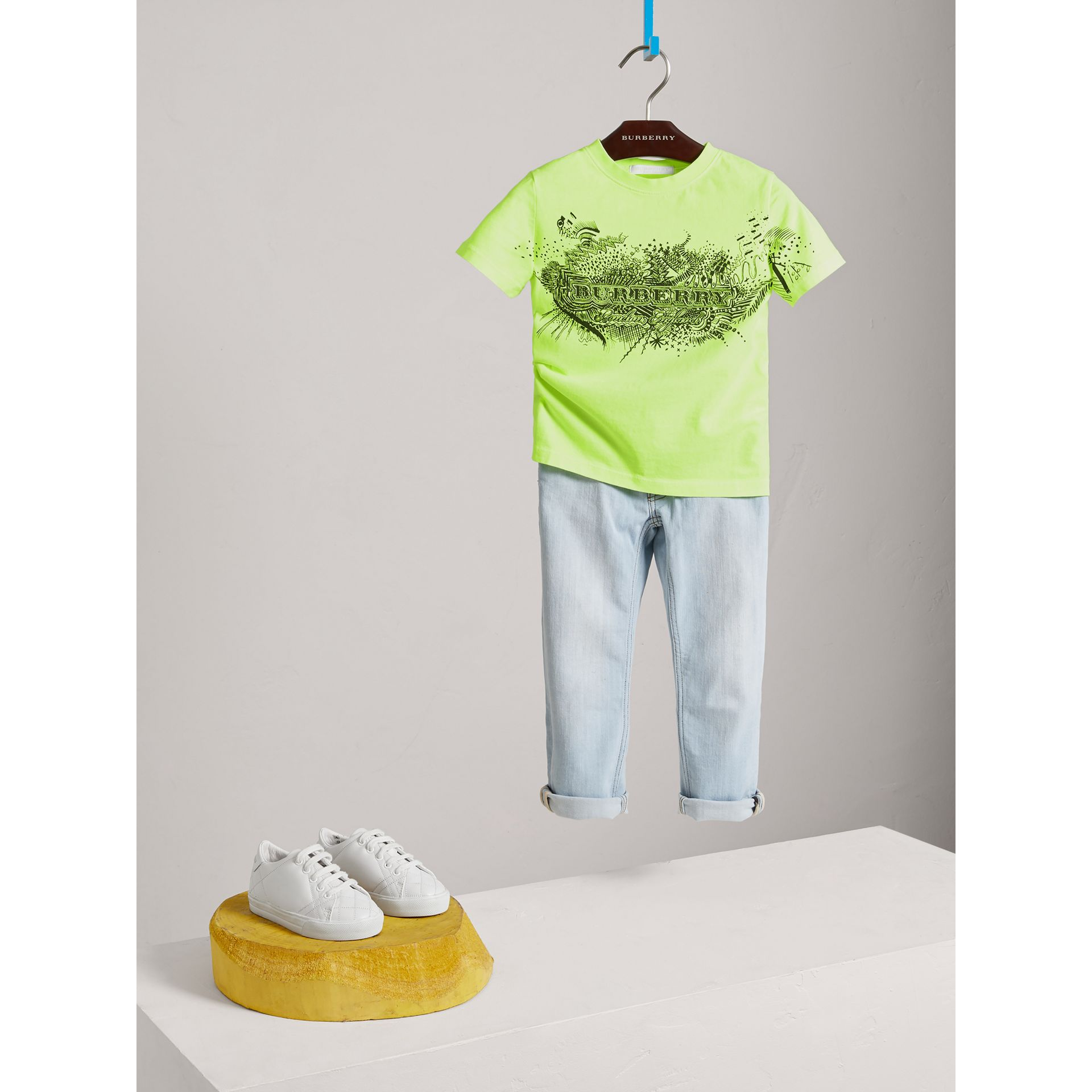 Doodle Print Cotton T-shirt in Bright Lemon - Boy | Burberry - gallery image 2