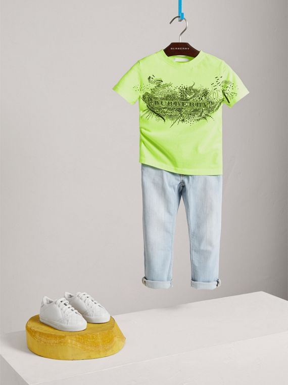 Doodle Print Cotton T-shirt in Bright Lemon - Boy | Burberry - cell image 2