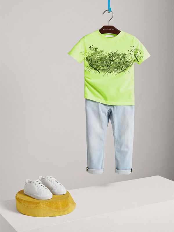 Doodle Print Cotton T-shirt in Bright Lemon | Burberry - cell image 2