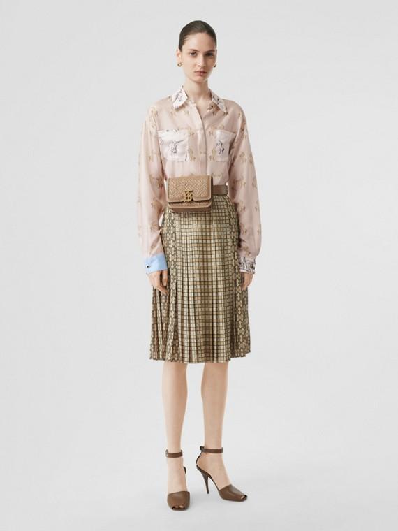 對比色獨角獸印花絲綢斜紋布襯衫 (淡粉紅色)