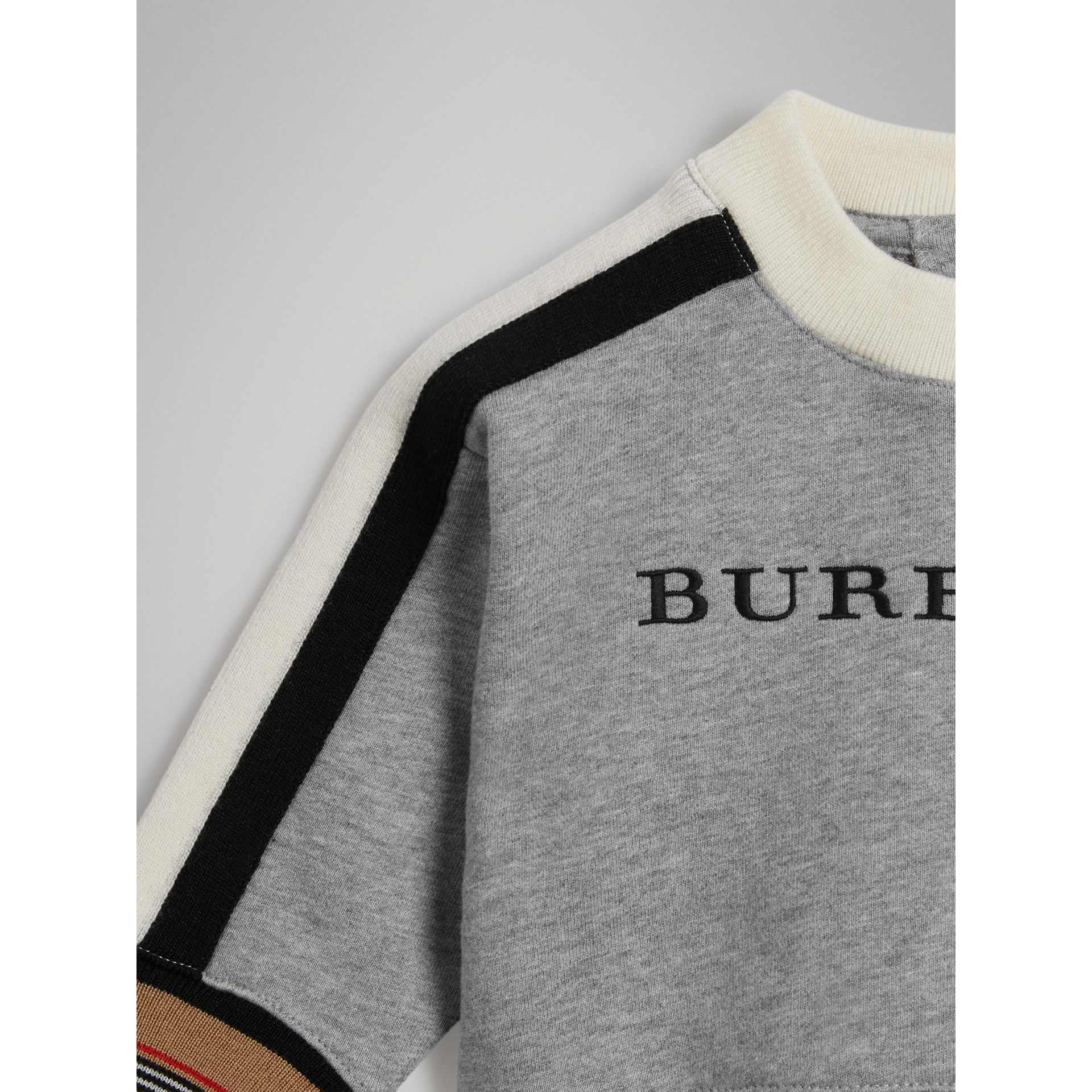 Embroidered Logo Cotton Sweatshirt in Grey Melange | Burberry - gallery image 4