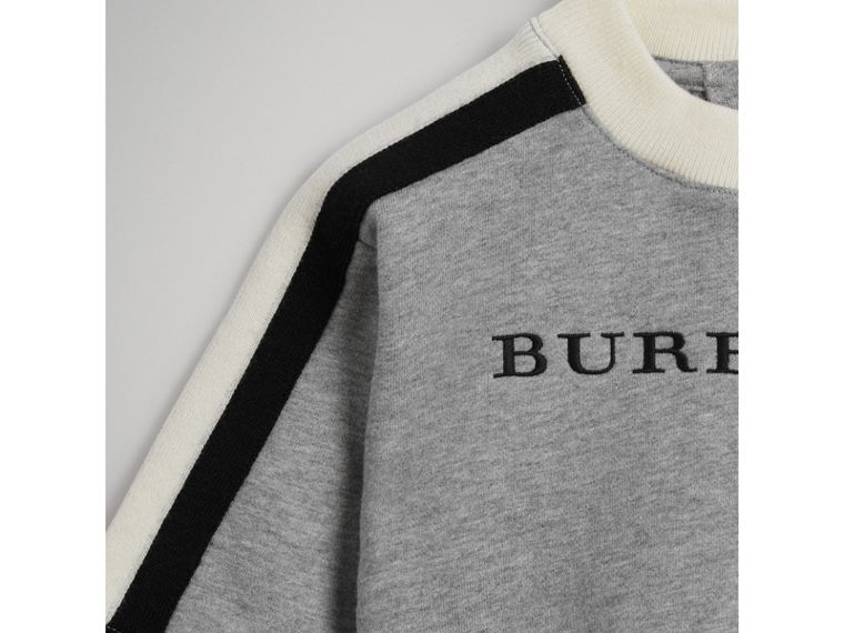 Embroidered Logo Cotton Sweatshirt in Grey Melange | Burberry - cell image 4