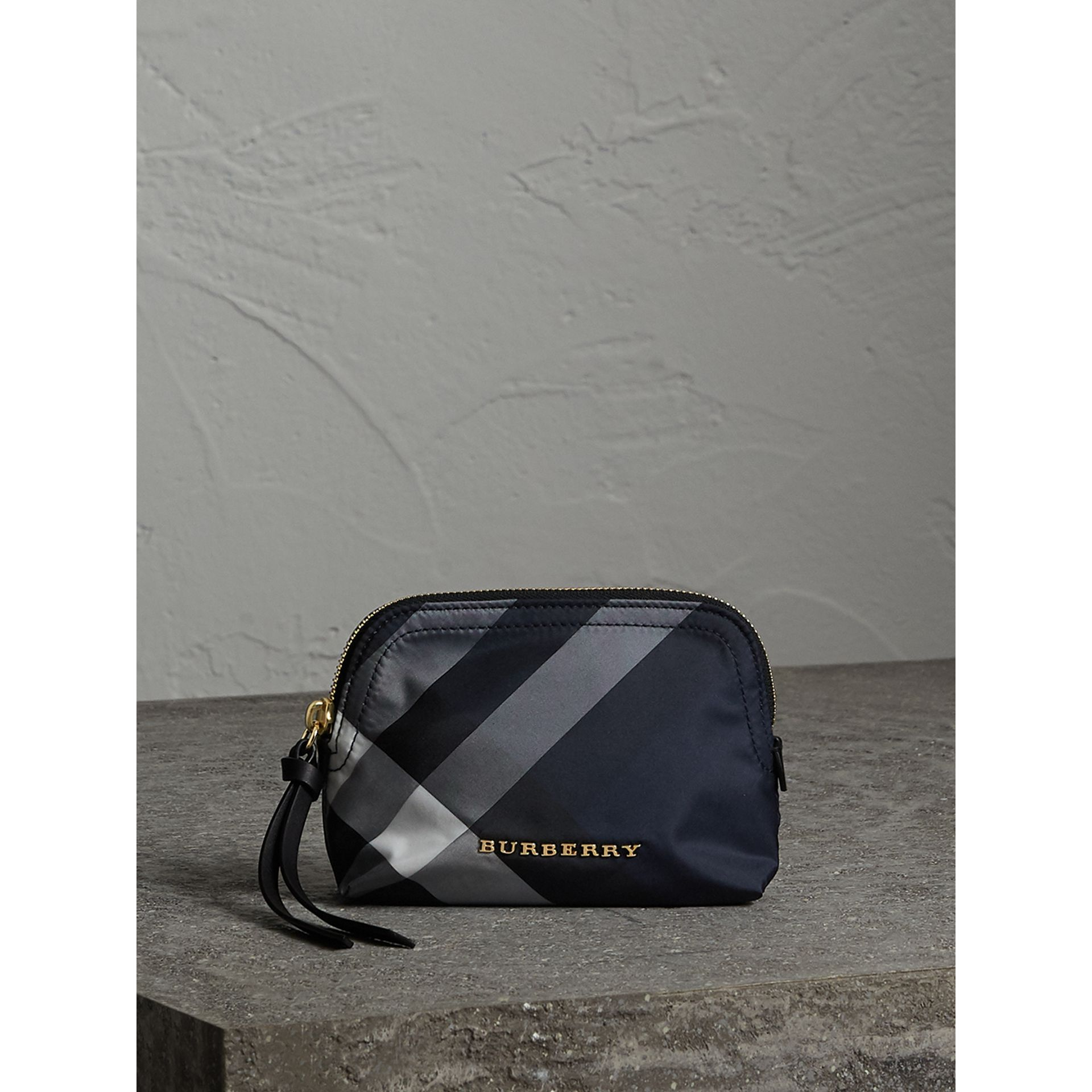 Small Zip-top Check Pouch in Indigo Blue - Women | Burberry - gallery image 1