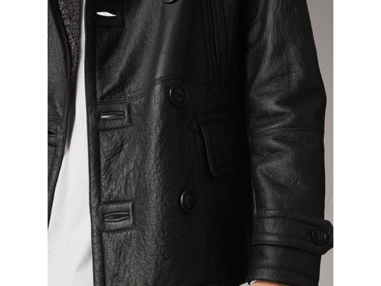 Shearling Pea Coat in Black - Men | Burberry - cell image 4