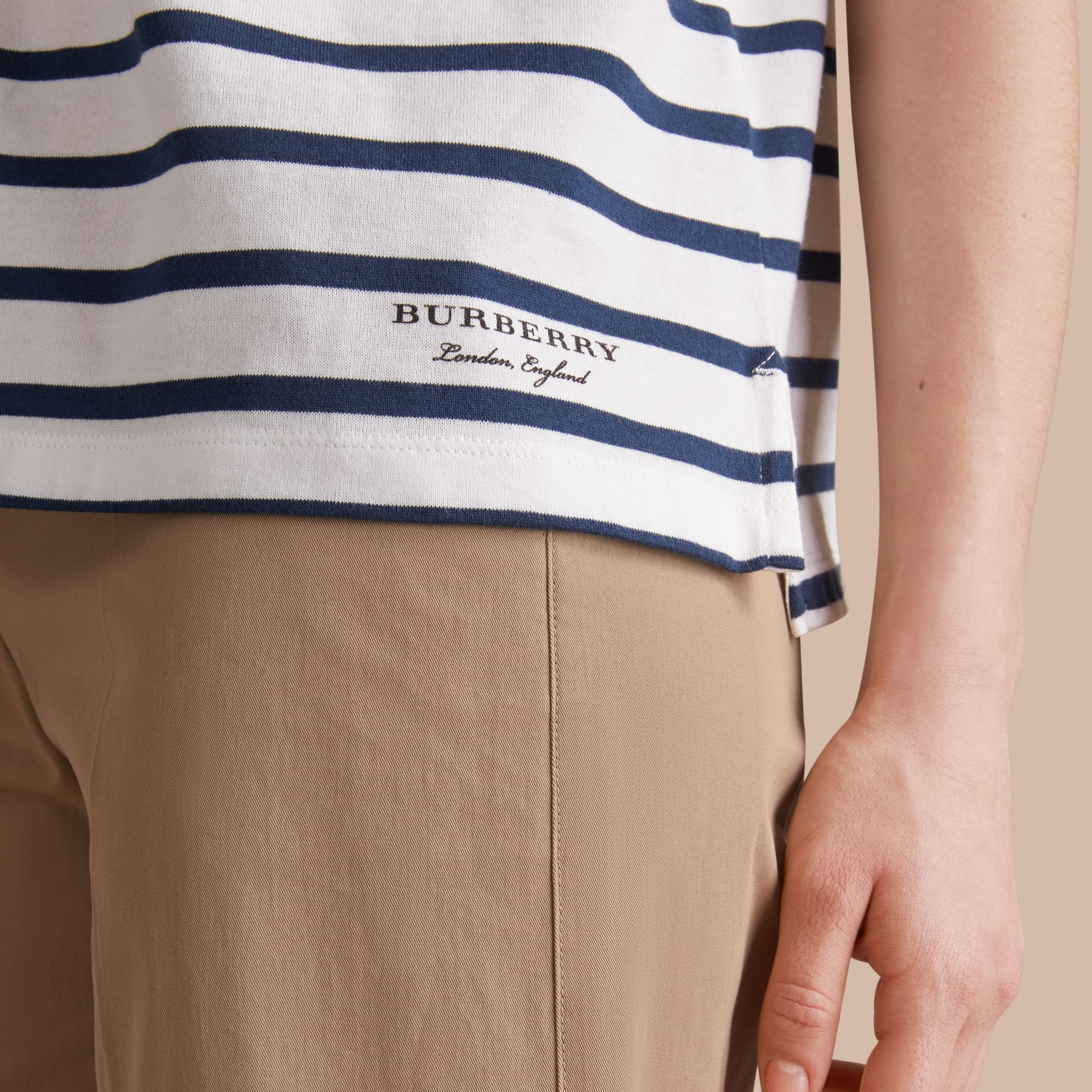 Breton Stripe Cotton T-shirt in Navy/white - Women | Burberry - gallery image 5