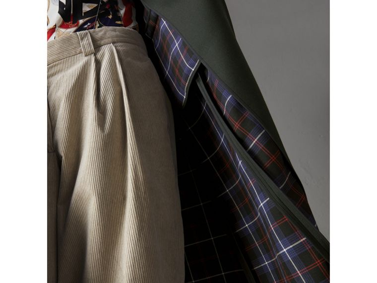Crested Button Wool Tailored Coat in Racing Green/bright Navy - Women | Burberry - cell image 4