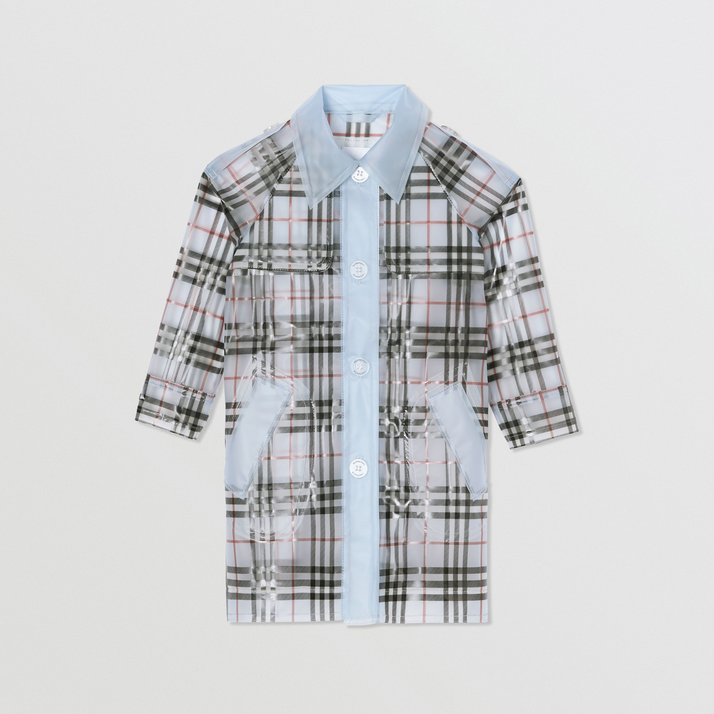 Check Print Showerproof Trench Coat in Pale Blue | Burberry - 1