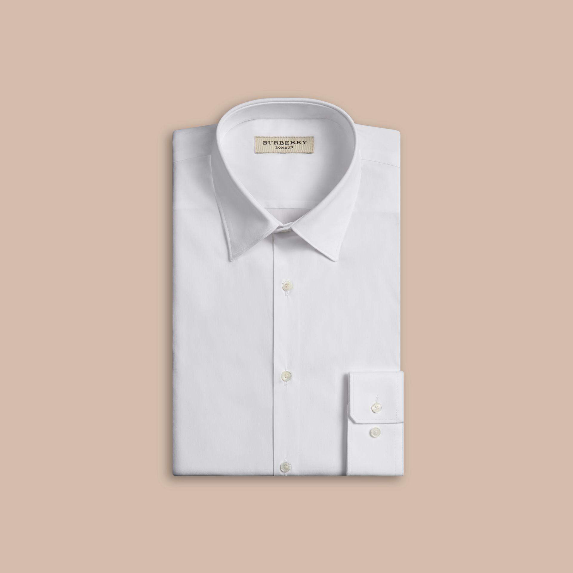 Slim Fit Stretch Cotton Shirt in White - gallery image 4