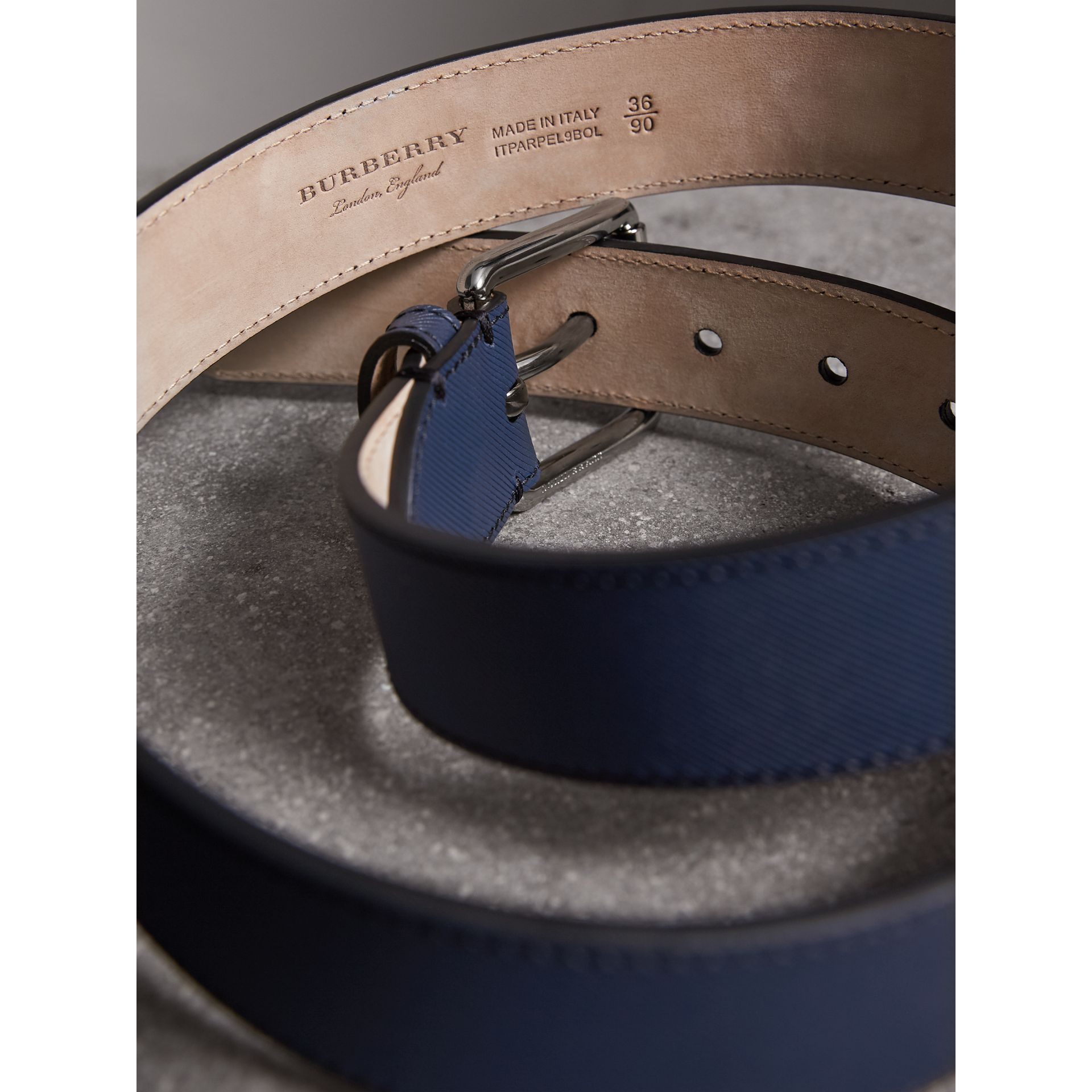 Trench Leather Belt in Ink Blue - Men | Burberry - gallery image 3