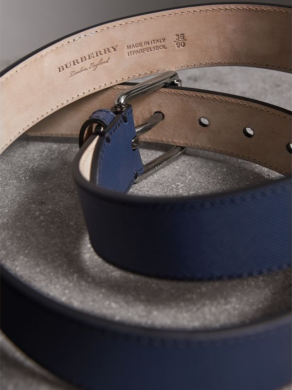 Trench Leather Belt in Ink Blue - Men | Burberry - cell image 3