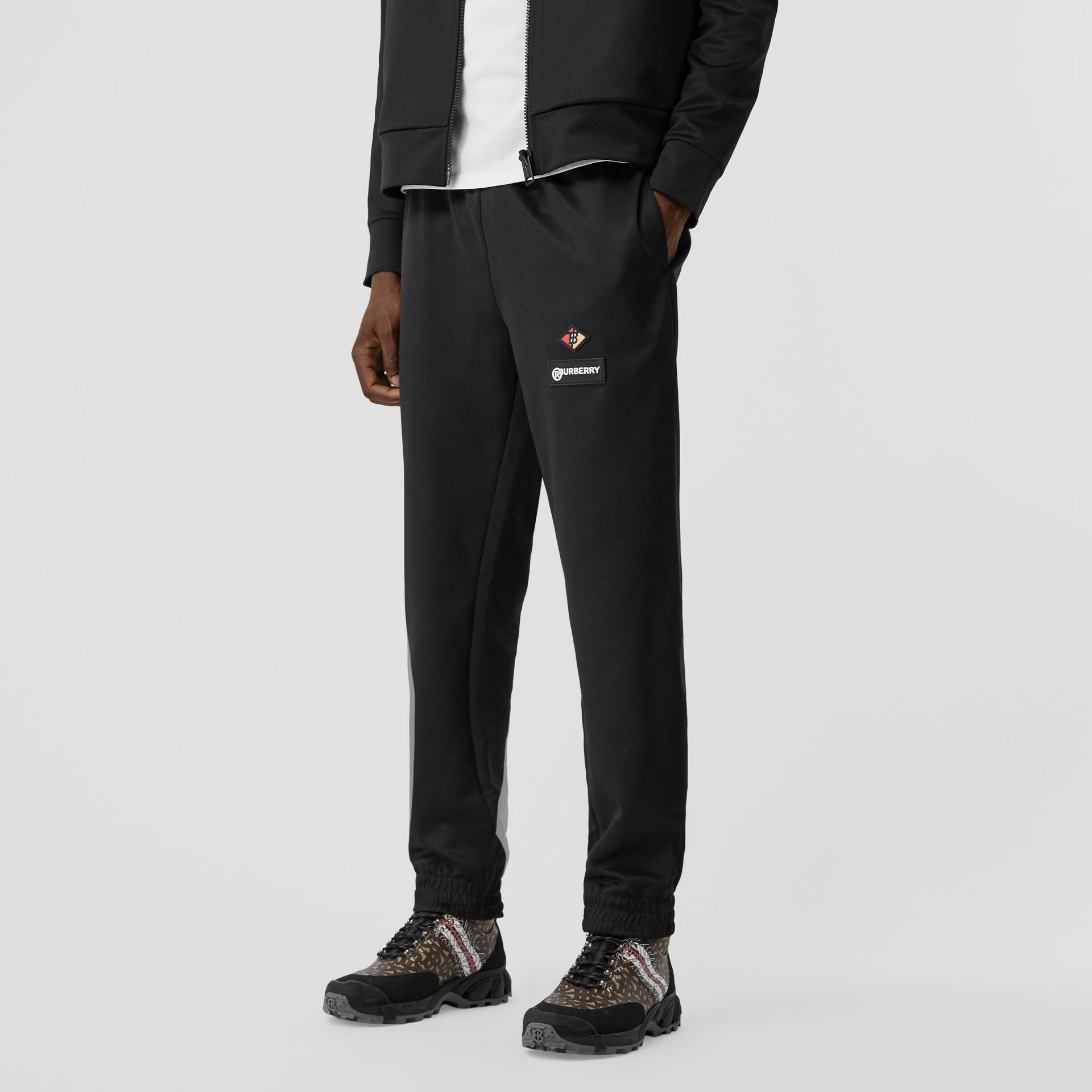 Logo Graphic Jersey Trackpants in Black - Men | Burberry Hong Kong S.A.R - gallery image 4