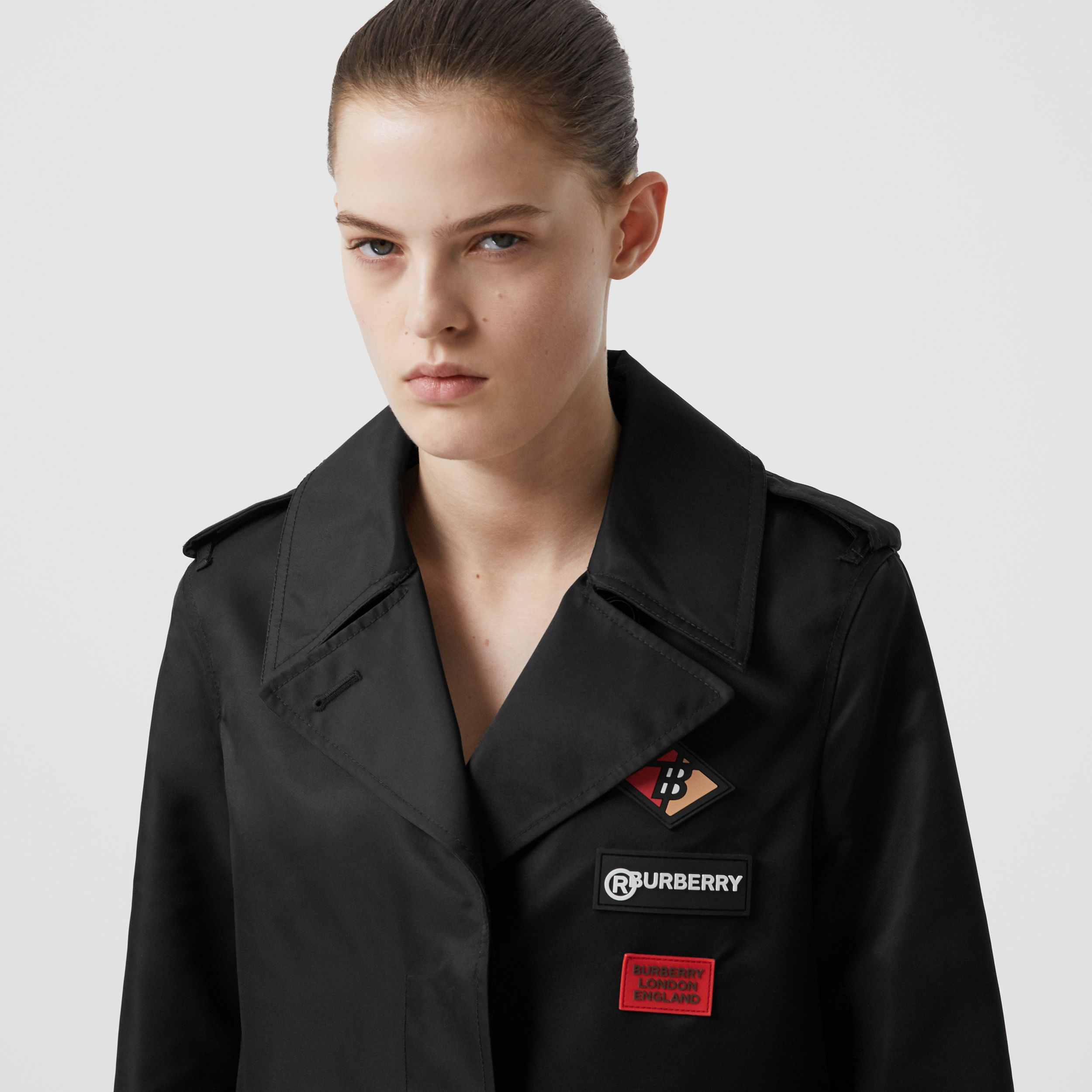 Logo Graphic Nylon Car Coat in Black - Women | Burberry - 2