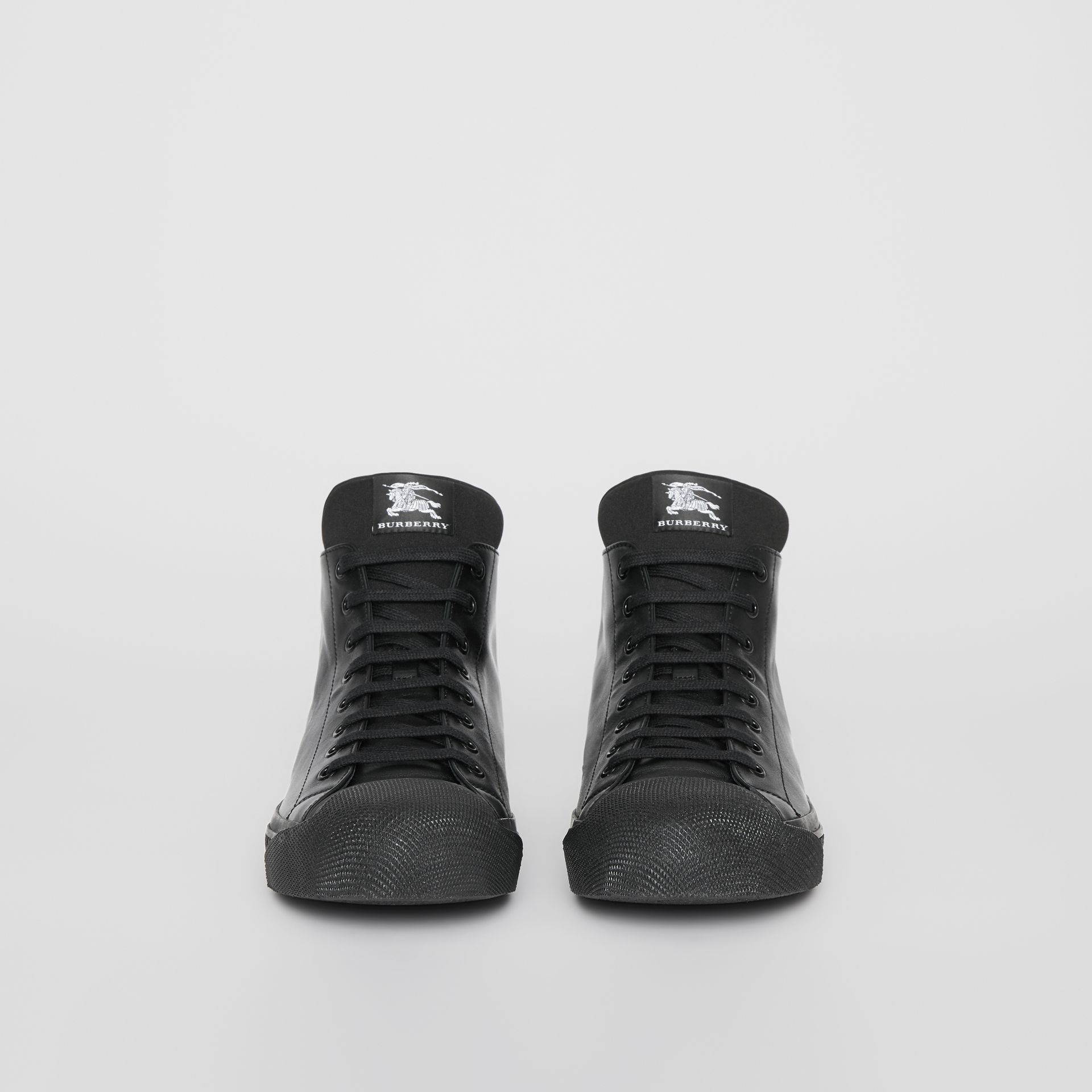 Leather and Neoprene High-top Sneakers in Black - Men | Burberry - gallery image 3