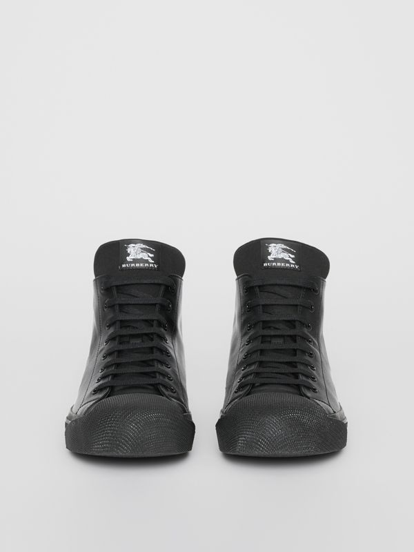 Leather and Neoprene High-top Sneakers in Black - Men | Burberry Australia - cell image 3