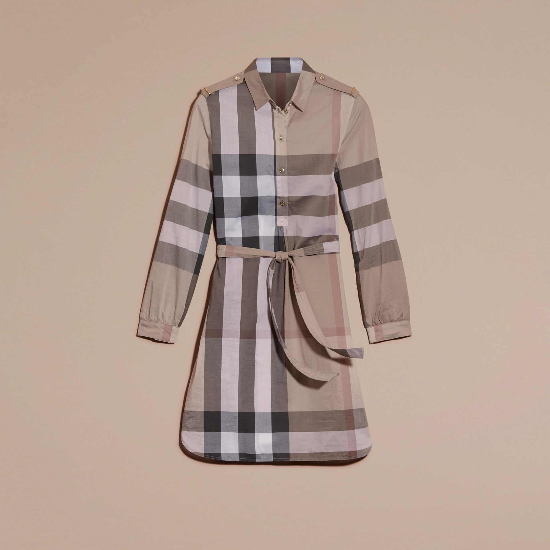 Pale stone Check Cotton Shirt Dress Pale Stone - gallery image 4