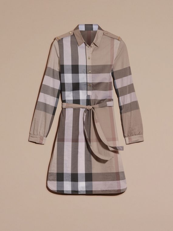 Check Cotton Shirt Dress Pale Stone - cell image 3