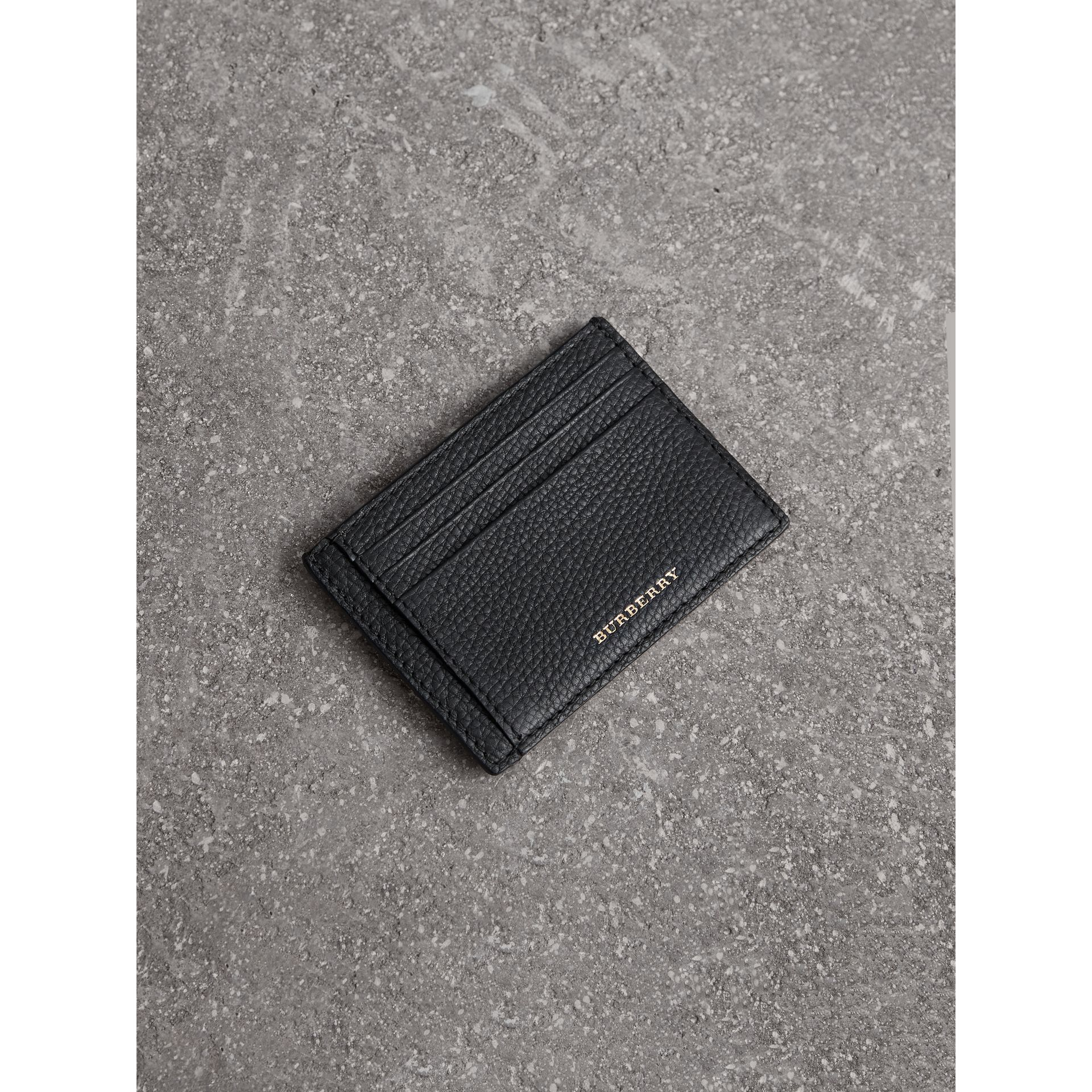 House Check and Leather Money Clip Card Case in Black - Men | Burberry United States - gallery image 0