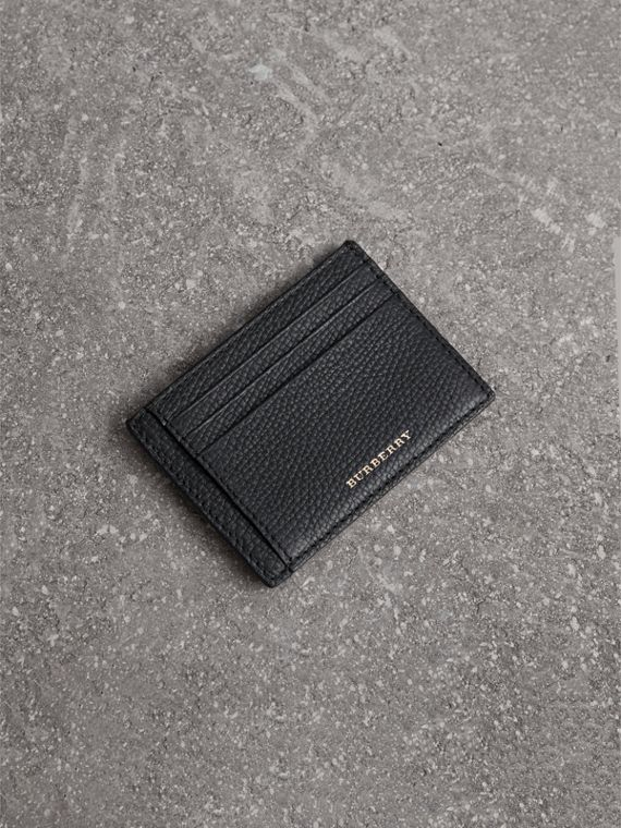 House Check and Leather Money Clip Card Case in Black