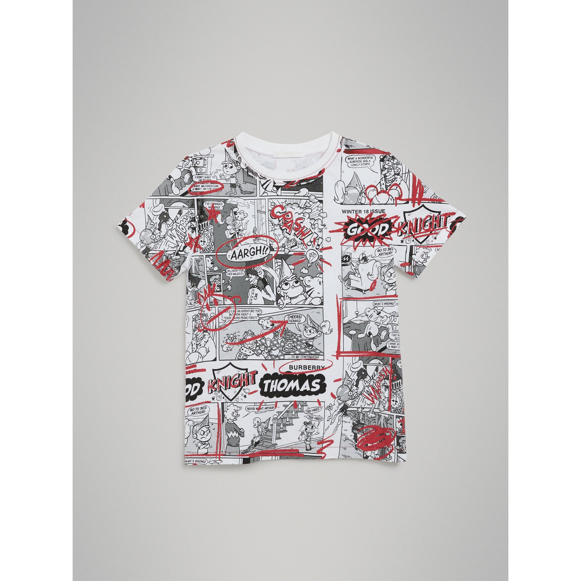 Comic Strip Print Cotton T-shirt in White | Burberry United Kingdom - gallery image 0