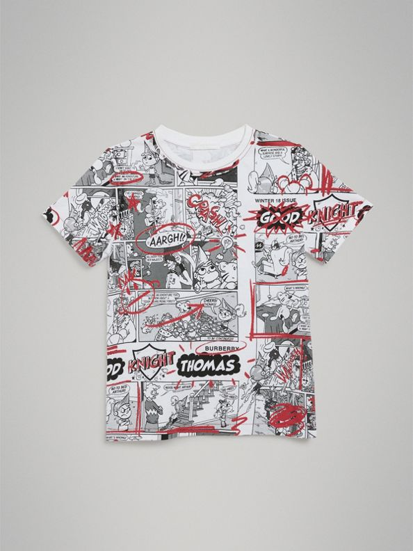 Comic Strip Print Cotton T-shirt in White